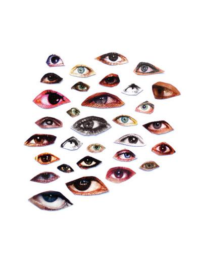 Marco Montiel-Soto, La historia del ojo izquierdo, 2010, serie de collages (recortes de ojos sobre papel)