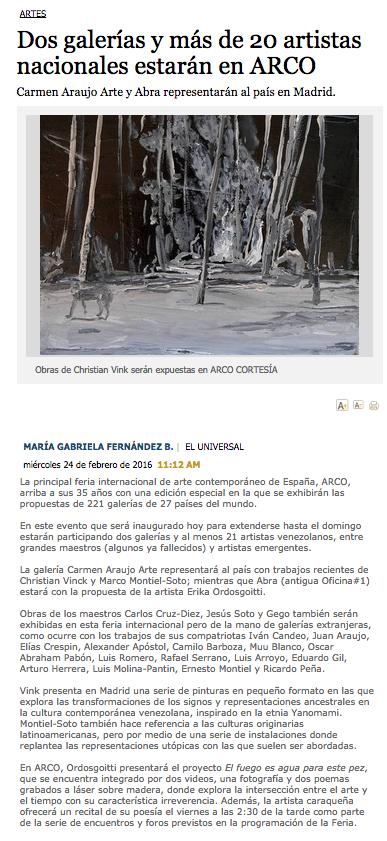 2016. Dos Galerías y más de 20 artistas nacionales estarán en ARCO - EL Universal