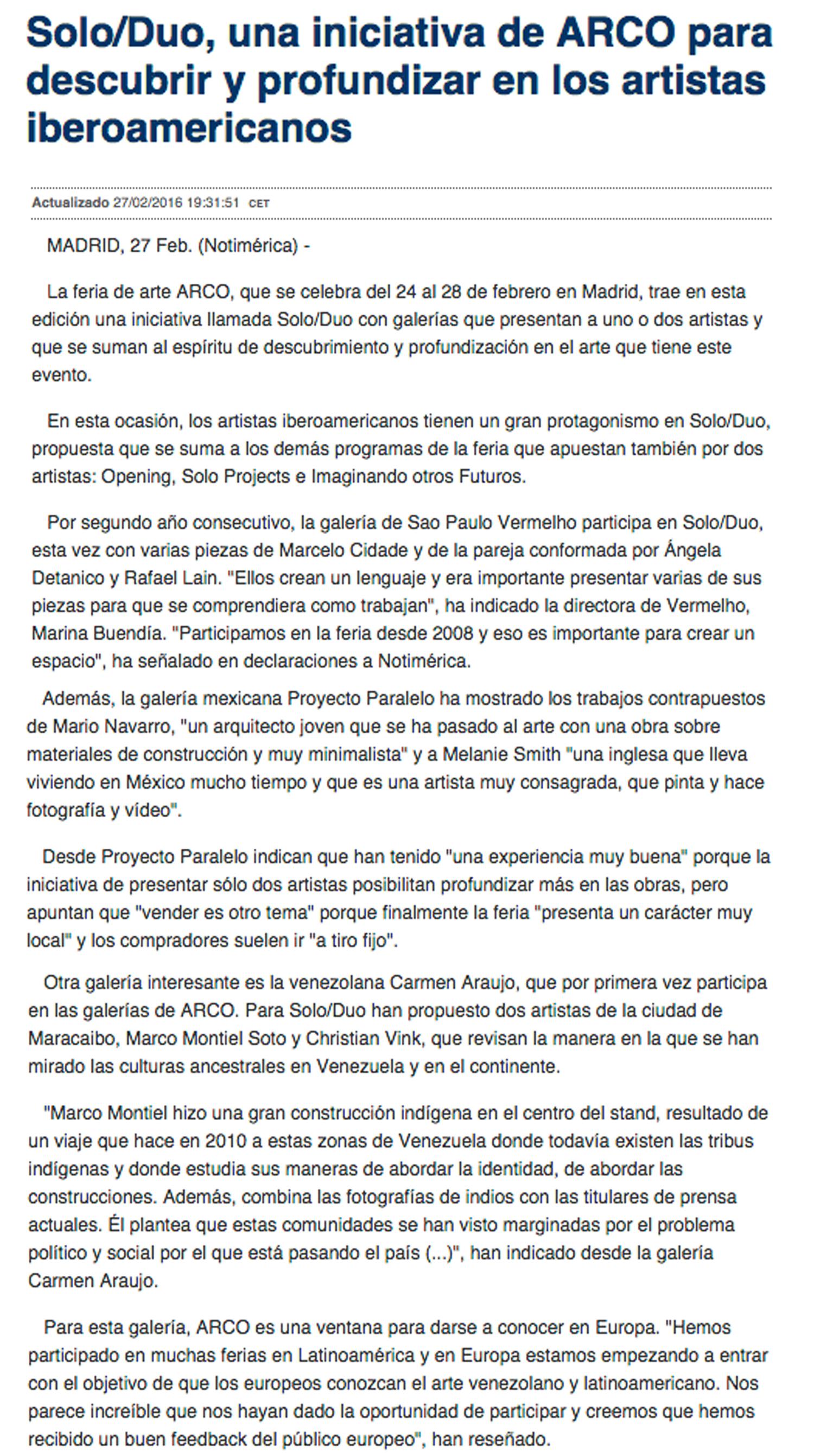 2016. Notimérica - SoloDuo, una iniciativa de ARCO para descubrir y profundizar en los artistas iberoamericanos 2