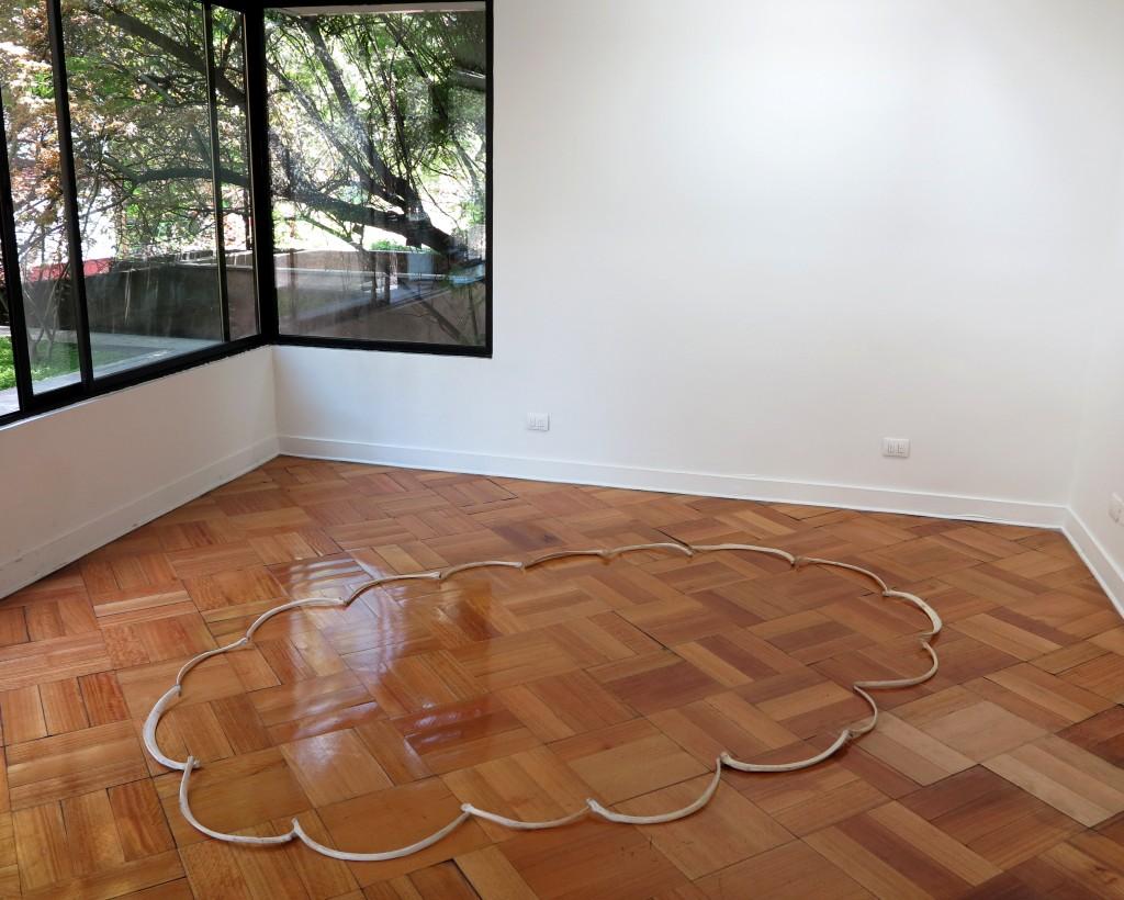 Marco Montiel-Soto, Nube de costillas de caballo, 2013, costillas de caballos muertos en la Isla de Pascua, dimensiones variables.