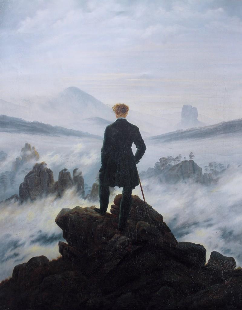 Caspar David Friedrich (1774–1840), Der Wanderer über dem Nebelmeer (El vagabundo sobre el mar de la niebla), 1818, óleo sobre tela, 98 × 74 cm